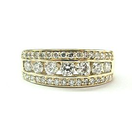 Round Diamond Channel Set 3-Row Ring 14Kt Yellow Gold 1.00Ct G-VS2