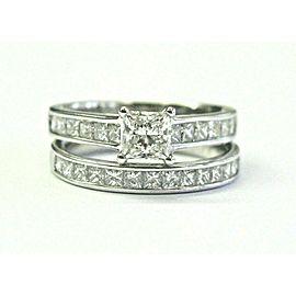 Princess Cut Diamond Engagement Set Platinum 950 2.10Ct G-VVS2