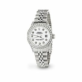 Rolex Datejust 26mm Steel Jubilee Diamond Watch with White Rolex Logo Dial