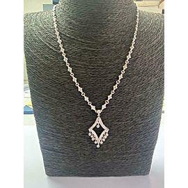 """Milgrain Diamond Necklace 18Kt White Gold .60t 16""""+1.5"""" Drop"""
