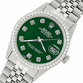 Rolex Datejust Steel 36mm Jubilee Watch/1.1CT Diamond Forest Green Dial