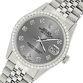 Rolex Datejust Steel 36mm Jubilee Watch/1.1CT Diamond Grey Dial