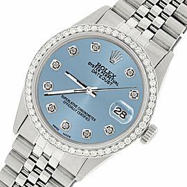 Rolex Datejust Steel 36mm Jubilee Watch/1.1CT Diamond Ice Blue Dial
