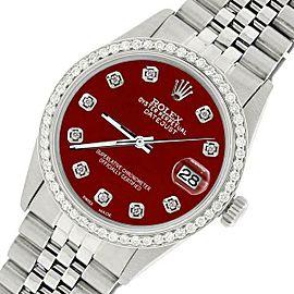 Rolex Datejust Steel 36mm Jubilee Watch/1.1CT Diamond Imperial Red Dial