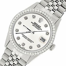 Rolex Datejust Steel 36mm Jubilee Watch/1.1CT Diamond Ivory White Dial