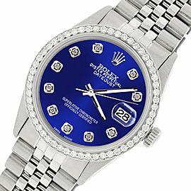 Rolex Datejust Steel 36mm Jubilee Watch/1.1CT Diamond Navy Blue Dial