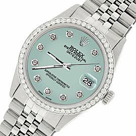 Rolex Datejust Steel 36mm Jubilee Watch/1.1CT Diamond Pastel Blue Dial