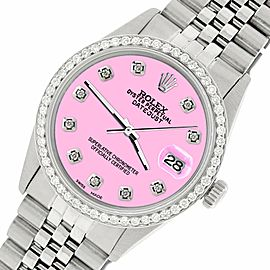 Rolex Datejust Steel 36mm Jubilee Watch/1.1CT Diamond Pastel Pink Dial