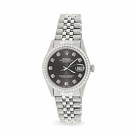 Rolex Datejust Steel 36mm Jubilee Watch/1.1CT Diamond Rhodium Grey Dial
