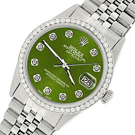 Rolex Datejust Steel 36mm Jubilee Watch/1.1CT Diamond Royal Green Dial