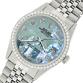 Rolex Datejust Steel 36mm Jubilee Watch/1.1CT Diamond Tahitian Blue Dial