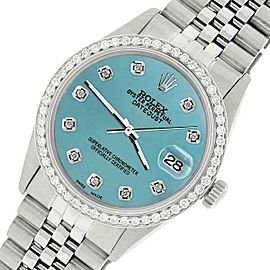 Rolex Datejust Steel 36mm Jubilee Watch/1.1CT Diamond Turquoise Blue Dial