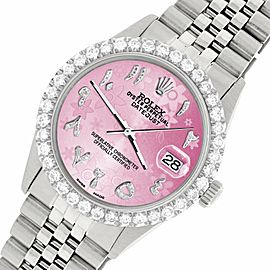 Rolex Datejust 36MM Steel Watch w/ 3.35CT Diamond Bezel/Pink Flower Arabic Dial