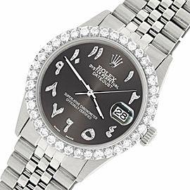 Rolex Datejust 36MM Steel Watch w/ 3.35CT Diamond Bezel/Rhodium Grey Arabic Dial