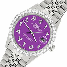 Rolex Datejust 36MM Steel Watch w/ 3.35CT Diamond Bezel/Sangria Arabic Dial