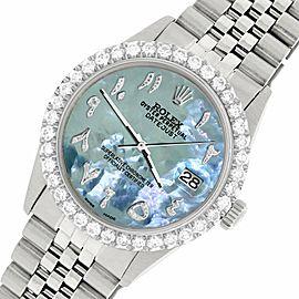 Rolex Datejust 36MM Steel Watch w/ 3.35CT Diamond Bezel/Tahitian Blue Dial