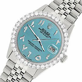 Rolex Datejust 36MM Steel Watch w/ 3.35CT Diamond Bezel/Turquoise Arabic Dial