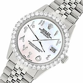 Rolex Datejust 36MM Steel Watch w/ 3.35CT Diamond Bezel/White Pearl Arabic Dial