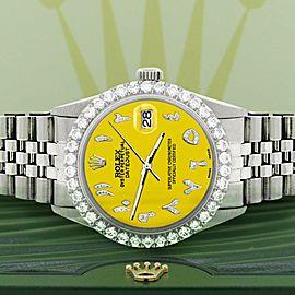 Rolex Datejust 36MM Steel Watch w/ 3.35CT Diamond Bezel/Yellow Arabic Dial