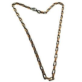 "Braccio Men's solid 14k 2 tone rose and white gold necklace gold 22"""