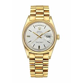 Rolex Day Date President 1803 Yellow Gold Linen Dial Box Papers