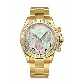 Rolex Daytona MOP 116268 Yellow Gold Baguette Diamond mens Watch