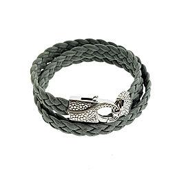 Stephen Webster Rayman 3 wrap grey leather bracelet with Oxidized Silver clasp
