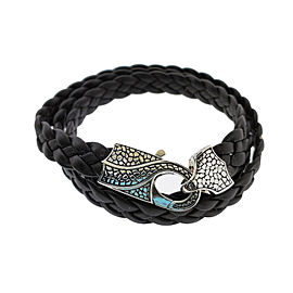 Stephen Webster Rayman 3 wrap black leather bracelet with Oxidized Silver clasp