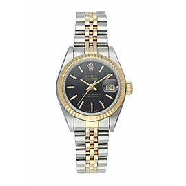 Rolex Datejust 69173 Black Tapestry Dial Ladies Watch