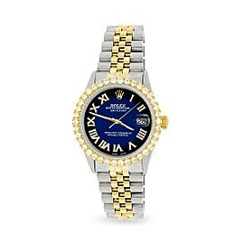 Rolex Datejust 36mm 2-Tone WATCH/3.10ct Diamond Bezel/Blue Vignette Diamond Dial