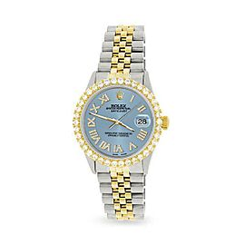 Rolex Datejust 36mm 2-Tone WATCH/3.10ct Diamond Bezel/Ice Blue Diamond Dial