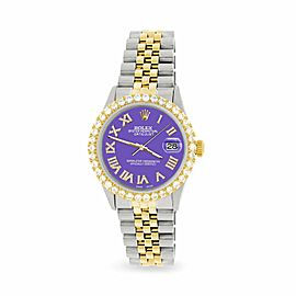 Rolex Datejust 36mm 2-Tone WATCH/3.10ct Diamond Bezel/Lavender Diamond Dial
