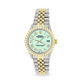 Rolex Datejust 36mm 2-Tone WATCH/3.10ct Diamond Bezel/Light Malachite Roman Dial