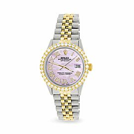 Rolex Datejust 36mm 2-Tone WATCH/3.10ct Diamond Bezel/Pink Pearl Roman Dial