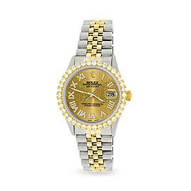 Rolex Datejust 36mm 2-Tone WATCH/3.10ct Diamond Bezel/Champagne Roman Dial