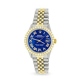Rolex Datejust 36mm 2-Tone WATCH/3.10ct Diamond Bezel/Royal Blue MOP Roman Dial