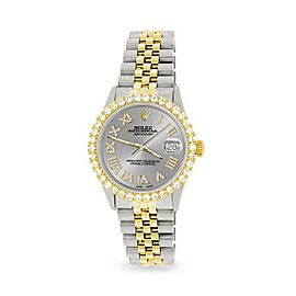 Rolex Datejust 36mm 2-Tone WATCH/3.10ct Diamond Bezel/Silver Roman Dial
