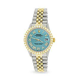 Rolex Datejust 36mm 2-Tone WATCH/3.10ct Diamond Bezel/Turquoise Roman Dial