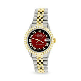 Rolex Datejust 36mm 2-Tone WATCH/3.10ct Diamond Bezel/Vignette Red Black Dial