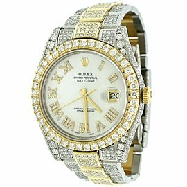 Rolex Datejust II 41mm 2-Tone 14.4ct Diamond Bezel/Lugs/Bracelet/White MOP Dial