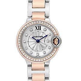 Cartier Ballon Blue Steel Rose Gold Diamond Ladies Watch WE902076