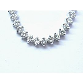 Fine Round Cut Diamond White Gold 2-Prong Tennis Bracelet 7 3/4 4.46Ct