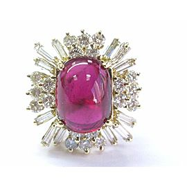 Natural UNTREATED Rubellite & Diamond Ring 18Kt Yellow Gold BIG 12.51Ct GIA