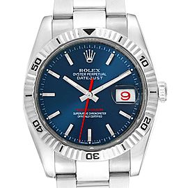 Rolex Datejust Turnograph Blue Dial Oyster Bracelet Mens Watch 116264
