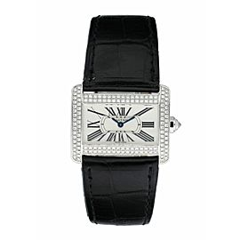Cartier Tank Divan 2613 Diamond & 18K White Gold Ladies Watch Box & Paper