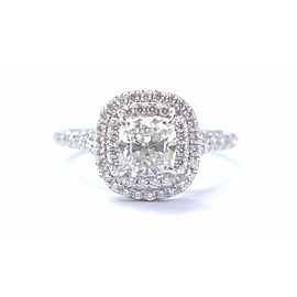 Tiffany & Co Platinum Cushion Cut Diamond Soleste Engagement Ring 1.34Ct H-VVS1