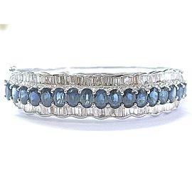 NATURAL 18Kt Gem Blue Sapphire & Diamond White Gold Bangle 18.46Ct