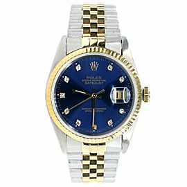 Rolex Datejust 36mm 2-Tone Watch with Factory Diamond Dial/Fluted Bezel