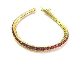 """Natural Round Ruby Tennis Bracelet 18Kt Yellow Gold 63-Stones 7"""" 4.00Ct"""