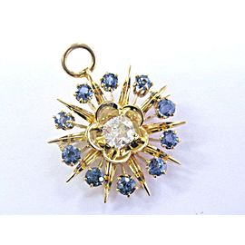 Vintage Old Mine Cut Diamond & Sapphire Yellow Gold Brooch/Pendant 1.77Ct